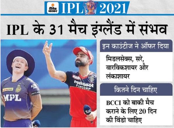 IPL का बाकी सीजन इंग्लैंड में हो सकता है