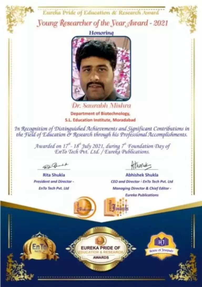 कानपुर के डॉ. सौरभ मिश्राआज यंग रिसर्चर अवॉर्ड 2021 से सम्मानित
