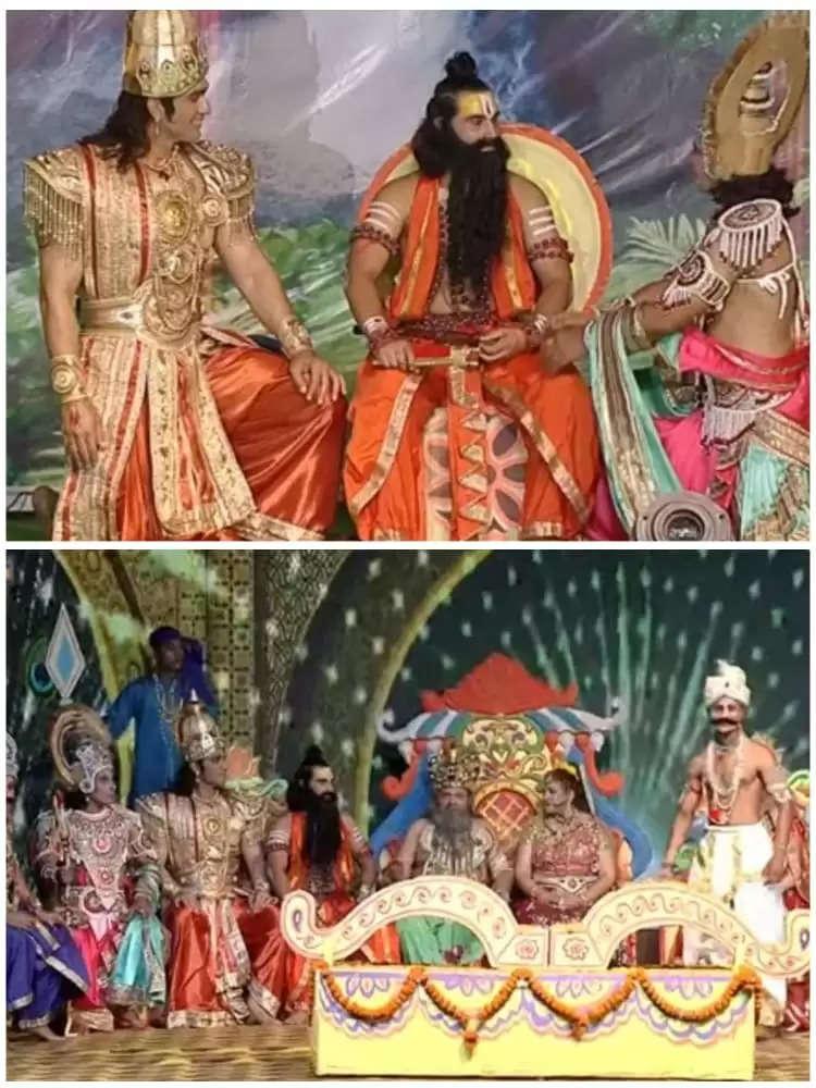 अयोध्या के लक्ष्मण रामलीला के दौरान ऋषि विश्वामित्र के साथ श्री राम की भूमिका में राहुल बुच्चर नजर आए