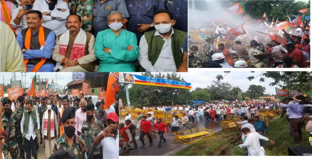 झारखंड विधानसभा में नमाज का काउंटिंग करने के विरोध में भाजपा के द्वारा किए गए घेराव में पुलिस द्वारा लाठीचार्ज